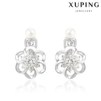 Wholesale Quality Pearl Ear Cuff for Women White Zirconia Flower Copper Dangle Earrings With Rhodium Plated Elegant Imitation Jewelry from Xuping