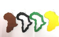 Wholesale pairs Price African Map Wooden earrings
