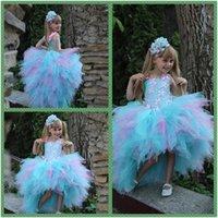 beaded butterfly applique - Butterfly Ruffles Girl s Pageant Dresses Pearls Beaded High Low Flower Girls Dress For Weddings Sleeveless Spaghetti Neck Kids Formal Wear