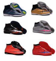 Wholesale Mercurial Superfly TF IC Red Blue High Ankle Men s Soccer Shoes Boots High Top Cleats Laser Football Sneakers Size