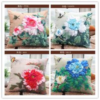 Wholesale New Arrival Ribbon Pillow Case Creative Cross Stitch Unfinished DIY Pillow Cases Flowers Butterfly Floral Embroidery Gift