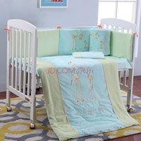 Wholesale New Arrival Light Blue Cotton Embroidery Giraffe Mom With Little Giraffe Baby Bedding Set Quilt Pillow Bumper Bed Sheet Crib Bedding Set