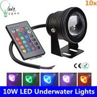 Wholesale 10x DHL Led Underwater Light RGB W V Led Underwater Light Colors LM Waterproof IP68 Fountain Pool Lamp Lighting