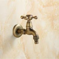 Wholesale Free shipingt Bibcocks Washing Machine Taps Antique Brass Bathroom Faucet Bathtub Tap Pool faucet Control valve