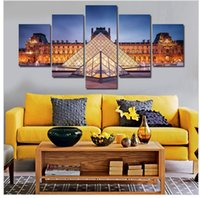 art louvre - framed At Night The Louvre Art Pictures Large HD Modern Home Wall Decor Abstract CanvasOil Painting