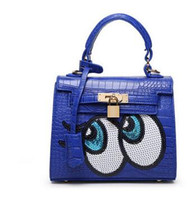 big eye tote bag - Famous Brand Cute Big Eye Handbag Designer Padlock Leather Small Messenger Bags High Quality Fashion Women Crocodile Bag