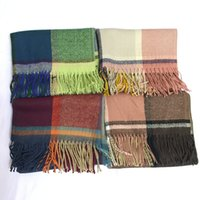 Wholesale 2016 Women bodiness Plaid Scarf Warm Soft Winter Blanket Pashmina Scarf Oversized Tartan Scarf women Shawl Scarves Wraps christmas
