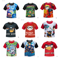 Wholesale Kids cartoon T Shirt Tops tees Dog Deadpool Dargon Ball Superhero Star Wars Zootopia Mickey Fashion Tshirt For Kids KKA496