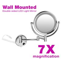 Wholesale Makeup Mirrors LED inch Wall Mounted Extending Folding Double Side LED Light Mirror x Magnification EU Plug