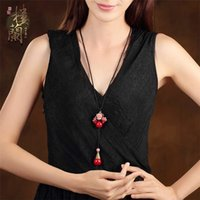 Wholesale Popular contracted joker tridacna loulan inn national wind sweater chain pendant accessories red necklace long restoring ancient ways