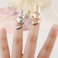 Wholesale New Fashion Delicate Dragonfly Rhinestone Stainless Steel Flower Finger Nail Ring Colors For Choose QJ