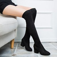Wholesale Women Stretch Faux Suede Slim Thigh High Boots Sexy Fashion Over the Knee Boots High Heels Woman Shoes Black Winered Boots