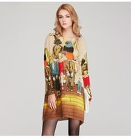 basic animals - Spring autumn cartoon print pullover women winter sweater long design top dress High quality loose basic sweater HX04