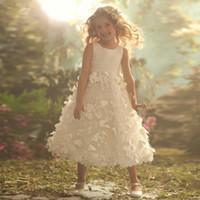 Wholesale 2016 Scoop Sleeveless Appliques White Flower Pageant Dresses For Little Girls vestido de festa de casamento Flower Girl Dresses