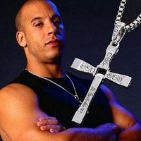 Wholesale Fast and Furious Cross Necklaces Actor Toledo Diamond Charm Pendant Silver or Gold Statement Necklace Fashion Men Jewelry Christmas Gifts