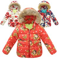 Wholesale 2016 winter girls down coat style flower printed long sleeves good quality warm wanter kids outwear I201681904