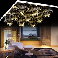 Wholesale Modern brilliant generous big square led segmented dimmable crystal ceiling light small circle crystal chandelier
