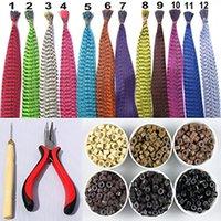 achat en gros de pince à cheveux plume-Coloré Je Tip cheveux plumes Extensions de cheveux kit avec 50pcs Grizzly cheveux plumes, 100 perles, un pinces et crochet, 12Colors facultatif