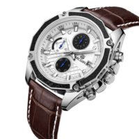 auto racing games - Authentic MEGIR quartz male watches Genuine Leather watches racing men Students game Run Chronograph Watch male glow hands