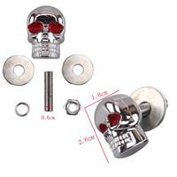 Wholesale 4pcs mm Chrome Red Eye Motorcycle Skull License Plate Frame Bolts Screws Caps ATV Quad Trailer Hotrod Ratrod Car Truck