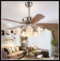 Wholesale 1070mm quot Iron Leaf Ceiling Fan Light Minimalist Modern European Antique Fan Restaurant Retro Living Room Ceiling Fan Lighting