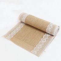 Wholesale 5pcs size cm cm Burlap Lace Table Runner Natural Jute Rustic Wedding Decoration For Christmas and home decoration