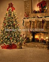 Wholesale amera Photo Backgrounds x10FT Background Customize Photography Studio Backdrop Christmas Tree Fireplace Flower Cart Digital Printing bac