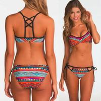 Wholesale 2016 Stylish Popular Women Sexy Bandeau Bikini Set Push Up Bra Swimsuit Retro Beachwear Swimwear Best Price