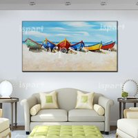 Cheap Free shipping 100% Handpainted Canvas Wall Art modern boat Painting white blue seascape Oil Painting Modern Home Decoration Wall Picture