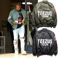 air winter jackets - MA1 Bomber Flight jacket Kanye West Yeezuss tour pilot jackets limited edition Black Army Green yeezyss air force streetwear Warm winter