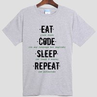 ate digital - GEEK programmer eat code sleep repeat Digital inkjet printing Pure cotton Round collar Short sleeve T shirt