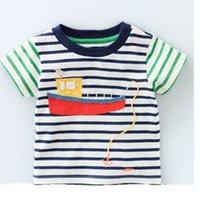 boat t shirts - 2016 Summer New Boy Cartoon T shirts Boats Stripe Patchwork Cotton Short Sleeve T shirts Children Clothing T