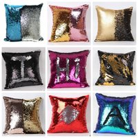 Wholesale HOT Double Sequin Pillow Case Cover Sequins Pillowslip Glow Pillow Case Cushion Cover Home Sofa Car Decor Bright Mermaid Pillow Covers C1280