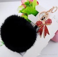big animals photos - 2016 cute cm big pink red black genuine rabbit fur ball plush butterfly key chain for car key ring bag pendant keychains D76