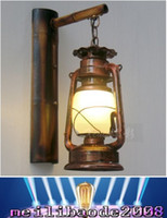 bamboo processing - Chinese Retro Nostalgia Building Process LED Wall Lamp Bamboo Teahouse Creative kerosene Lantern Iron Wall MYY