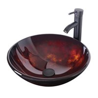 Wholesale Bathroom Basin Sink Modern Round Artistic Vanity Sinks Tempered Glass Vessel Sink With Oil Rubbed Bronze Faucet with ORB Pop up Drain A02