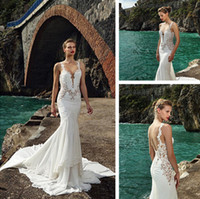 Cheap 2016 wedding dresses spaghetti straps mermaid wedding dress court train chiffon berta bridal dresses backless applique lace bridal gowns