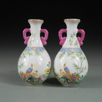 antique porcelain china - A Pair of Antique Chinese Porcelain Vase with Golden Pheasant and Bamboo Ancient China Traditional Art Ceramic Collectibles