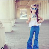 Wholesale Casual Kids Denim - New Arrival Kids Girls Denim Bells Pants Ruffles Cute Baby Girls Summer Fall Fashion Vintage Pants