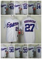 Wholesale Expos Throwback Jerseys Steve Rogers Warren Cromartie Pedro Martinez Vladimir Guerrero Pinstipe White