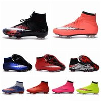 Wholesale 2016 New Cheap Discount Mens Football Boots Superfly Boots Football Soccer Shoes High Ankle Football Shoes blue size