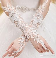 Wholesale White Ivory Lace Wedding Bridal Mittens Beaded Sexy Fingerless PROM Gloves Brand New Good Quality