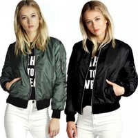 Wholesale 2016 Lady Casual Classic Padded Bomber Jacket Womens Retro Vintage Zip Up Biker Coat