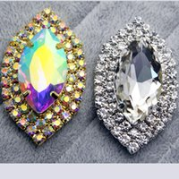 Wholesale mm Crystal AB Marquise Glass Sew On Rhinestone With Holes FlatBack Stone Metal Silver Gold Base Sewing On Clothes