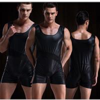 Wholesale 1PCS Sexy Imitation leather Shorts Jockstrap Men s Underwear Sexy Jumpsuits Transparent Vest Faux Leather Bodysuits