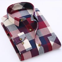 Wholesale 2016 NEW Brand Men s shirts Fashion Casual Plaid Long sleeve shirt men Dress shirt Autumn Winter style shirts for man