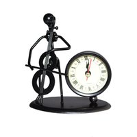 Wholesale Desk Decoration of Iron man Playing Cello Casting Model With Clock Cello Model Clock