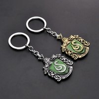 badge carabiner - Harry Potter Keychain Snake Badge Gryffindor Slytherin Key chain Movie Jewelry Keychain in stock
