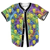 Wholesale LSD Emoji Jersey Men s Clothing d print overshirt Tees baseball shirt sport tops Hip Hop with buttons Casual fashion shirts
