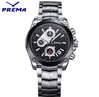 acrylic folding table - 2016 Prema Calendar watches True Three Eye Six needle multi function stainless steel table campaign waterproof man quartz watch DHL